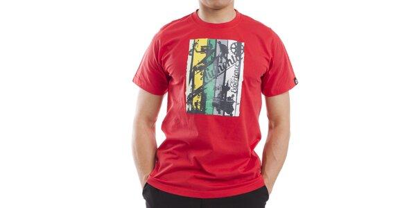 Pánské červené tričko s barevným potiskem Alpine Pro