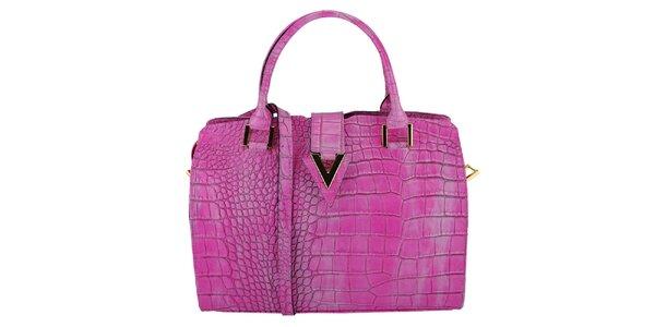 Dámská fialová kožená kabelka s krokodýlím vzorem Giulia