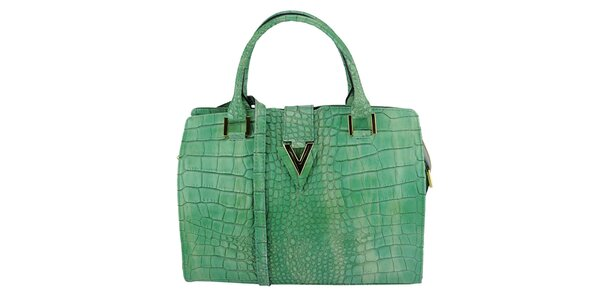 Dámská zelená kožená kabelka s krokodýlím vzorem Giulia