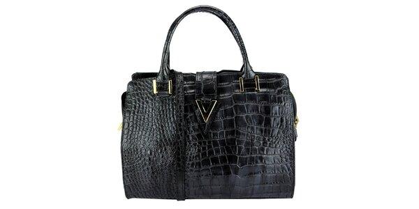 Dámská černá kožená kabelka s krokodýlím vzorem Giulia