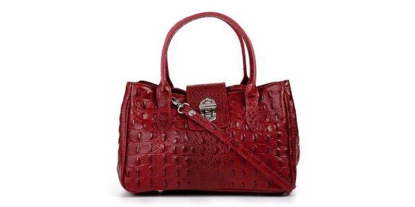 Dámská červená kožená podlouhlá kabelka s kapičkami Giulia