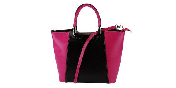 Dámská černo-fuchsiová kožená kabelka Giulia