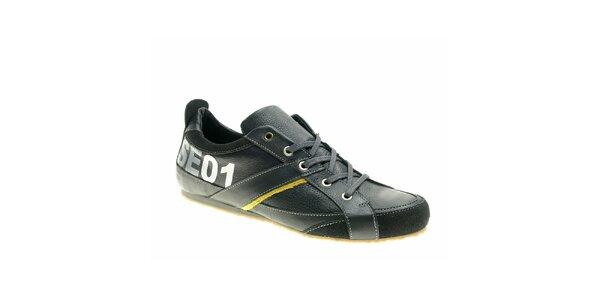 Pánské černo-žluté kožené boty Red Hot