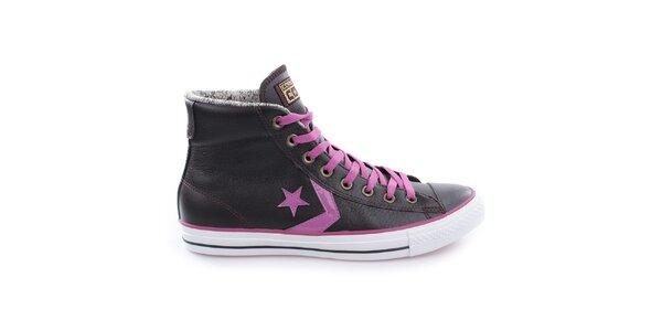 Tmavé kotníčkové boty s fialovými prvky Converse
