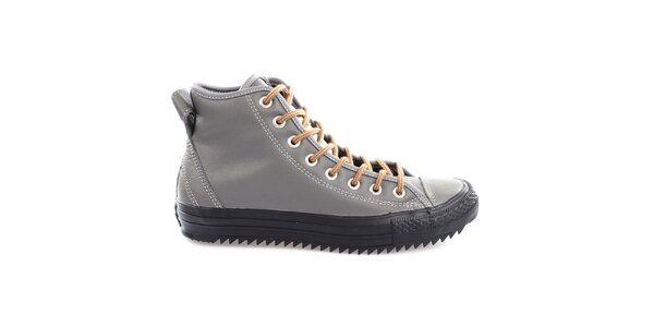 Šedé boty s černou podrážkou Converse