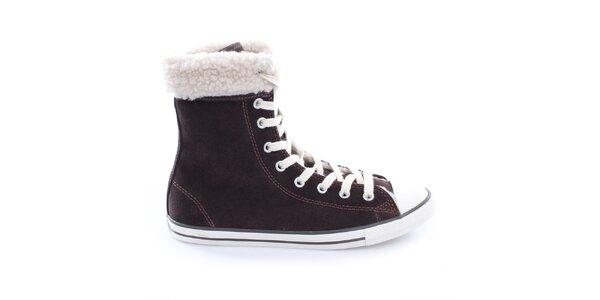 Dámské šněrovací boty s kožíškem Converse