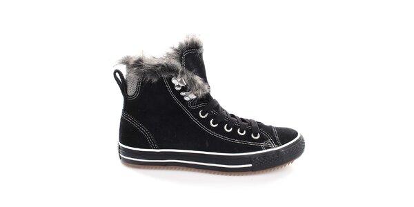 Dámské černé kotníčkové boty s tkaničkami Converse