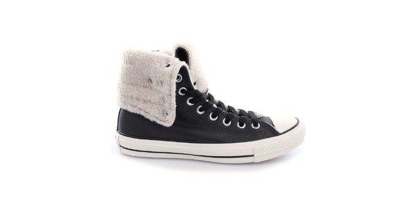 Dámské černé botky s kožíškem Converse