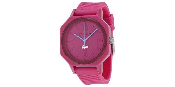 Dámské růžové hodinky s modrými ručičkami Lacoste
