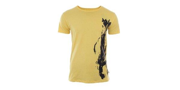 Pánské žluté tričko s potiskem River Rock