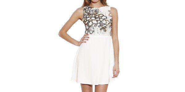 Dámské bílé šaty s dekorativní aplikací Angel Eye