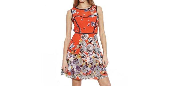 Dámské červené šaty s květinami Angel Eye