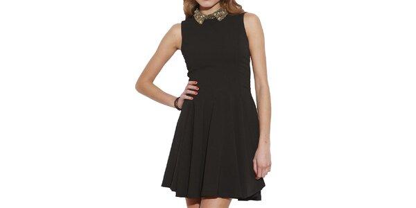 Dámské černé šaty se zdobeným límcem Angel Eye
