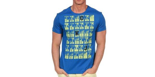 Pánské modré tričko s krátkým rukávem a potiskem Calvin Klein