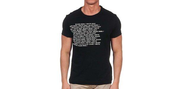 Pánské černé tričko s krátkým rukávem a bílým nápisem Calvin Klein