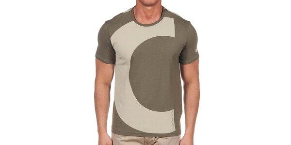 Pánské khaki tričko s iniciálami Calvin Klein
