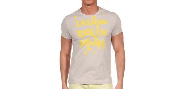 Pánské tričko se žlutým potiskem Calvin Klein