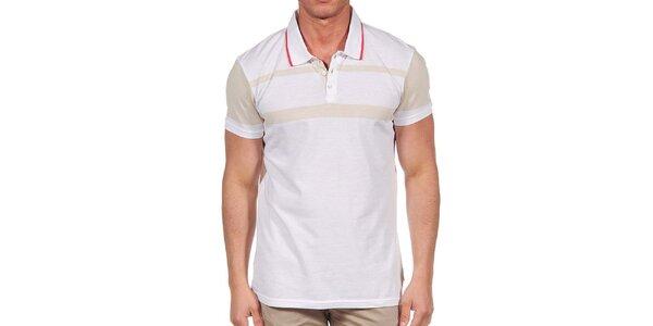 Pánské bílé polo triko s béžovými prvky Calvin Klein