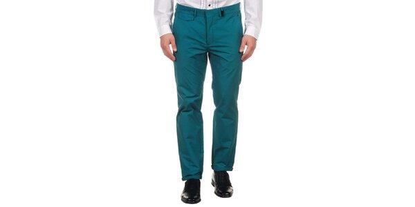 Pánské lahvově zelené společenské kalhoty Calvin Klein