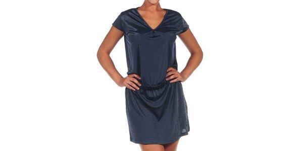 Dámské tmavě modré šaty s véčkovým výstřihem Calvin Klein
