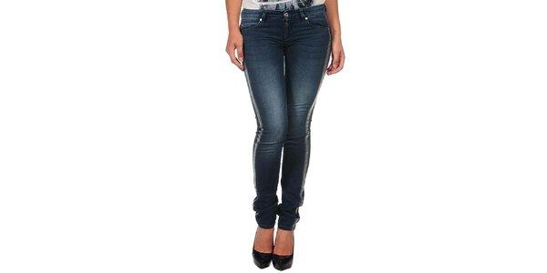 Dámské modré džíny se stříbrnými lemy Calvin Klein