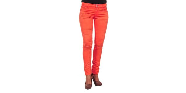 Dámské úzké červené kalhoty Calvin Klein