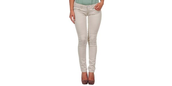 Dámské světle béžové úzké kalhoty Calvin Klein