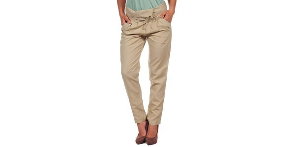 Dámské béžové kalhoty s ohrnutým pasem Calvin Klein