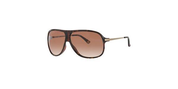 Pánské tmavě hnědé žíhané sluneční brýle Michael Kors