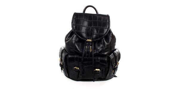 Dámský černý batůžek s reliéfním vzorem Pietro Filipi