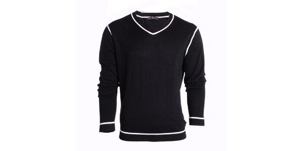 Pánský černý svetr s bílými linkami Pietro Filipi