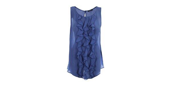 Dámská modrá halenka se svislými volánky Pietro Filipi