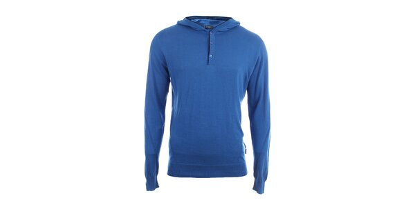 Pánský modrý svetr s kapucí Pietro Filipi