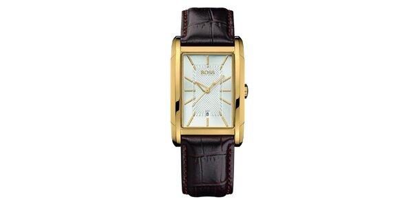 Pánské analogové hodinky s hranatým pouzdrem Hugo Boss