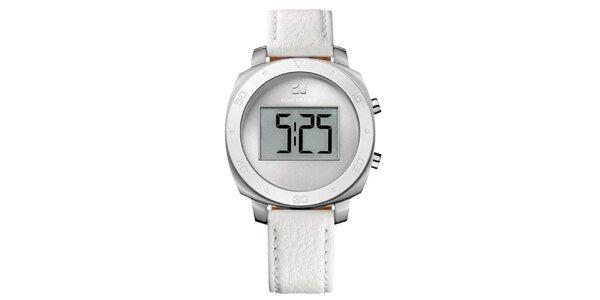 Kulaté digitální hodinky s bílým řemínkem Hugo Boss Orange