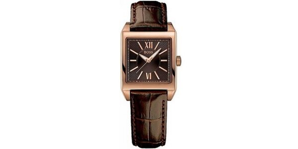 Dámské hranaté pozlacené hodinky Hugo Boss Orange