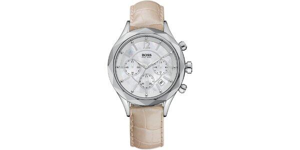 Dámské ocelové hodinky se světlým koženým páskem Hugo Boss