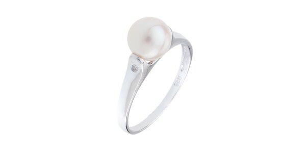 Dámský stříbrný prsten s bílou perlou Orchira