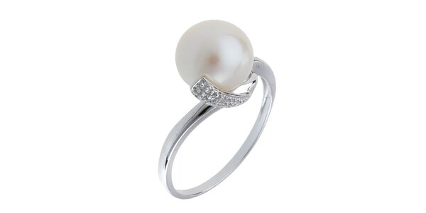 Dámský stříbrný prsten s bílou perlou a zirkony Orchira
