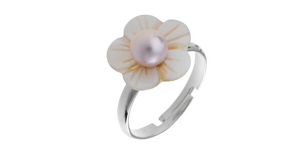 Dámský perleťový prstýnek s růžovou perlou Orchira