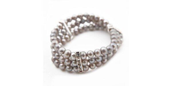 Dámský trojřadý náramek ze stříbrných perel Orchira