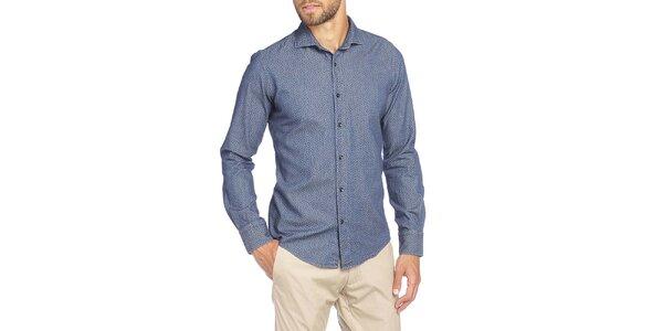 Pánská modrá košile s drobným květinovým vzorem LIU•JO