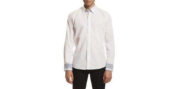 Pánská bílá košile se vzorovanými manžetami Dewberry