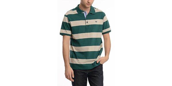 Pánské zeleno-béžově pruhované polo triko Dewberry