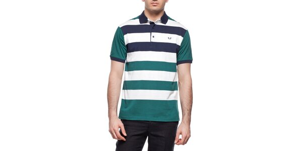 Pánské zeleno-modro-bíle pruhované polo triko Dewberry