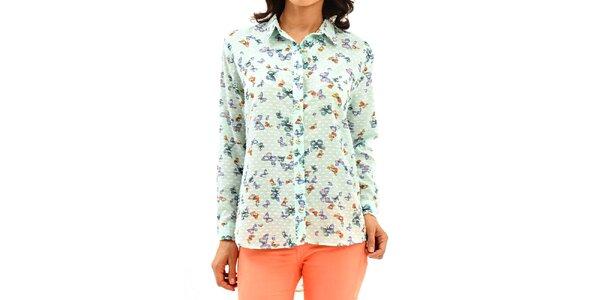Dámská světle zelená košile s motýlky Dewberry