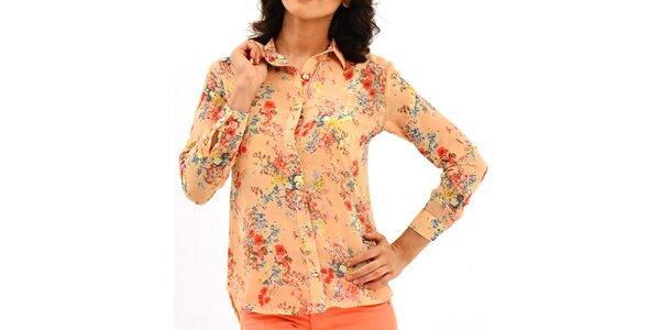 Dámská lososová košile s květinovým potiskem Dewberry