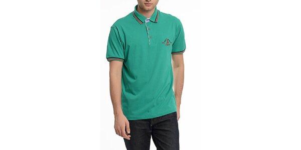 Pánské zelené polo triko s pruhy na límečku Dewberry