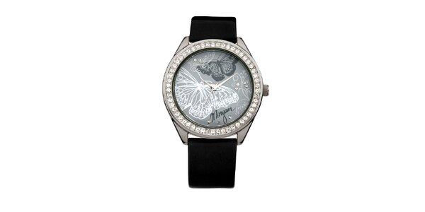 Dámské hodinky z nerezové oceli MORGAN , černý řemínek