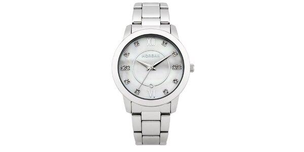 Dámské hodinky z nerezové oceli MORGAN bílý stříbrný perleťový ciferník 63e3791099